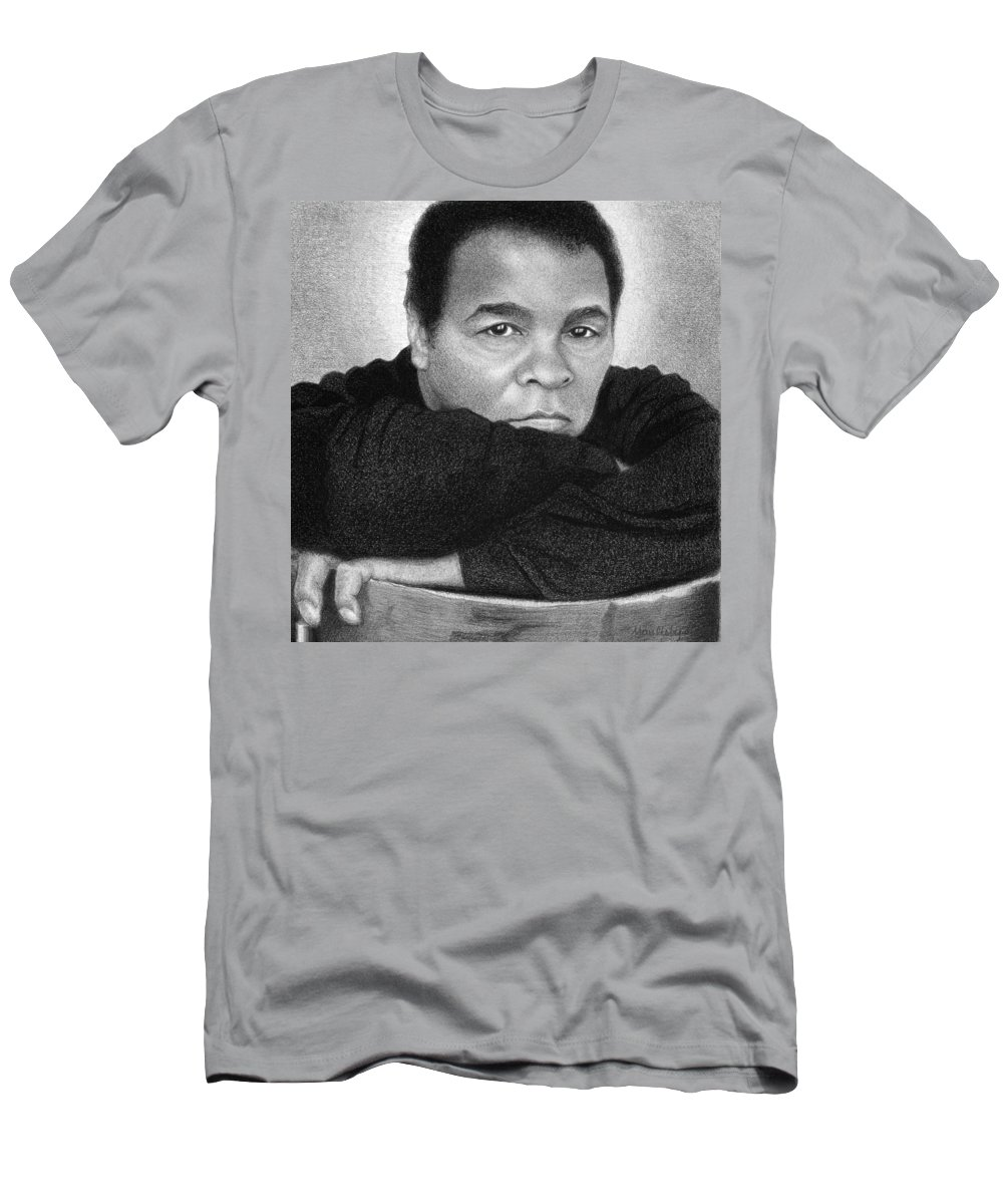 Graphite Men's T-Shirt (Athletic Fit) featuring the drawing Muhammad Ali by Curtis Maultsby