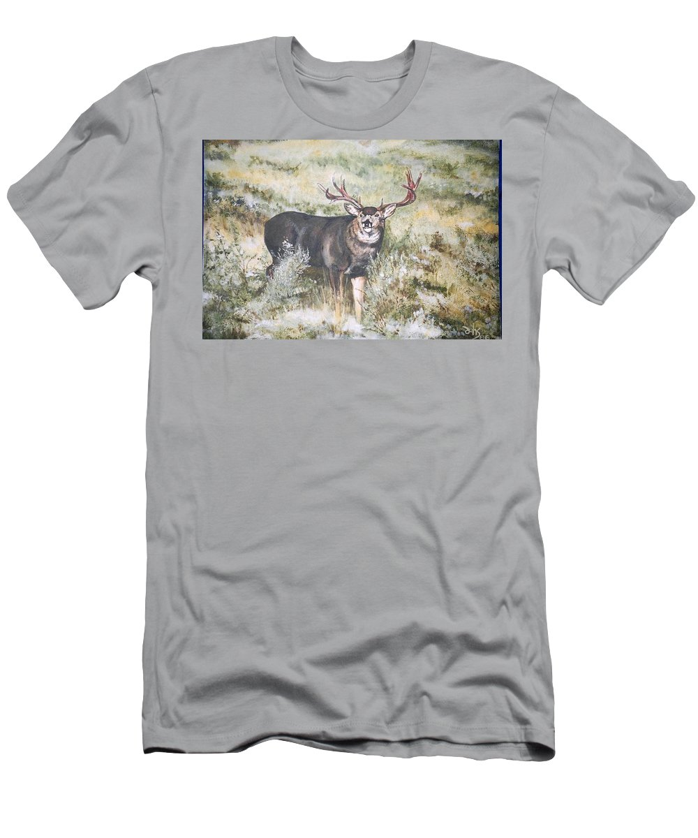 Mule Deer Men's T-Shirt (Athletic Fit) featuring the painting Muley by Debra Sandstrom