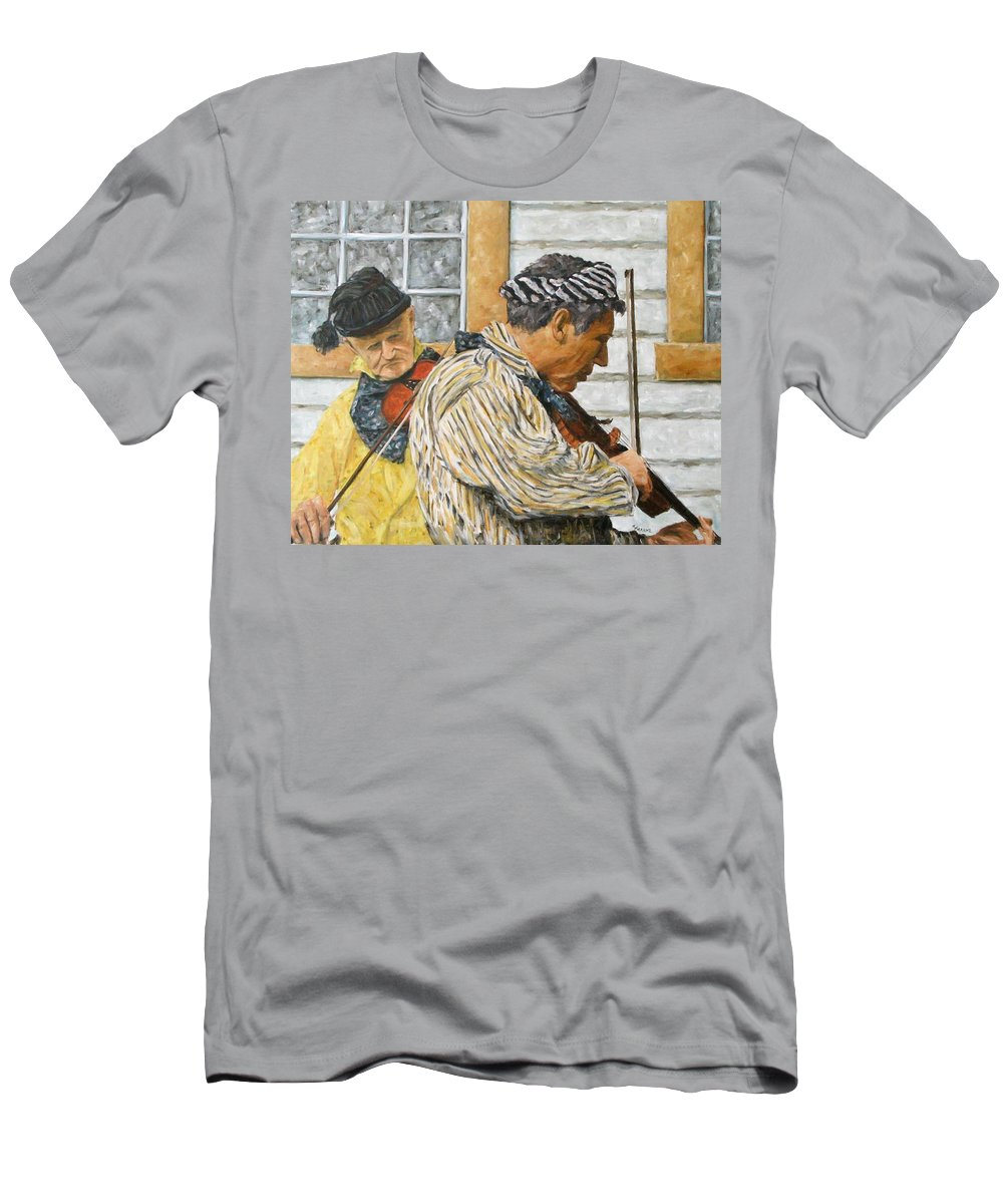 Richard T Pranke Men's T-Shirt (Athletic Fit) featuring the painting Musicians by Richard T Pranke