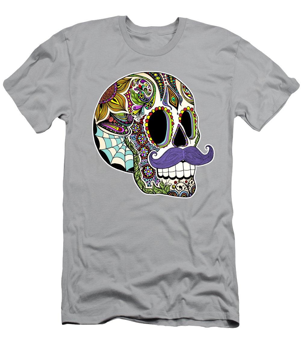 Vintage Men's T-Shirt (Athletic Fit) featuring the digital art Mustache Sugar Skull Vintage Style by Tammy Wetzel