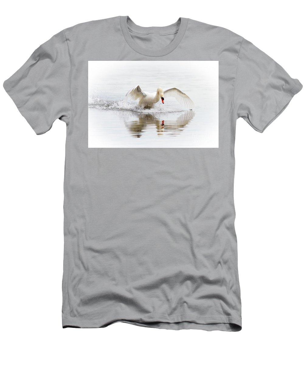 Mute Swan Men's T-Shirt (Athletic Fit) featuring the photograph Mute Swan Landing II by Karen Jorstad