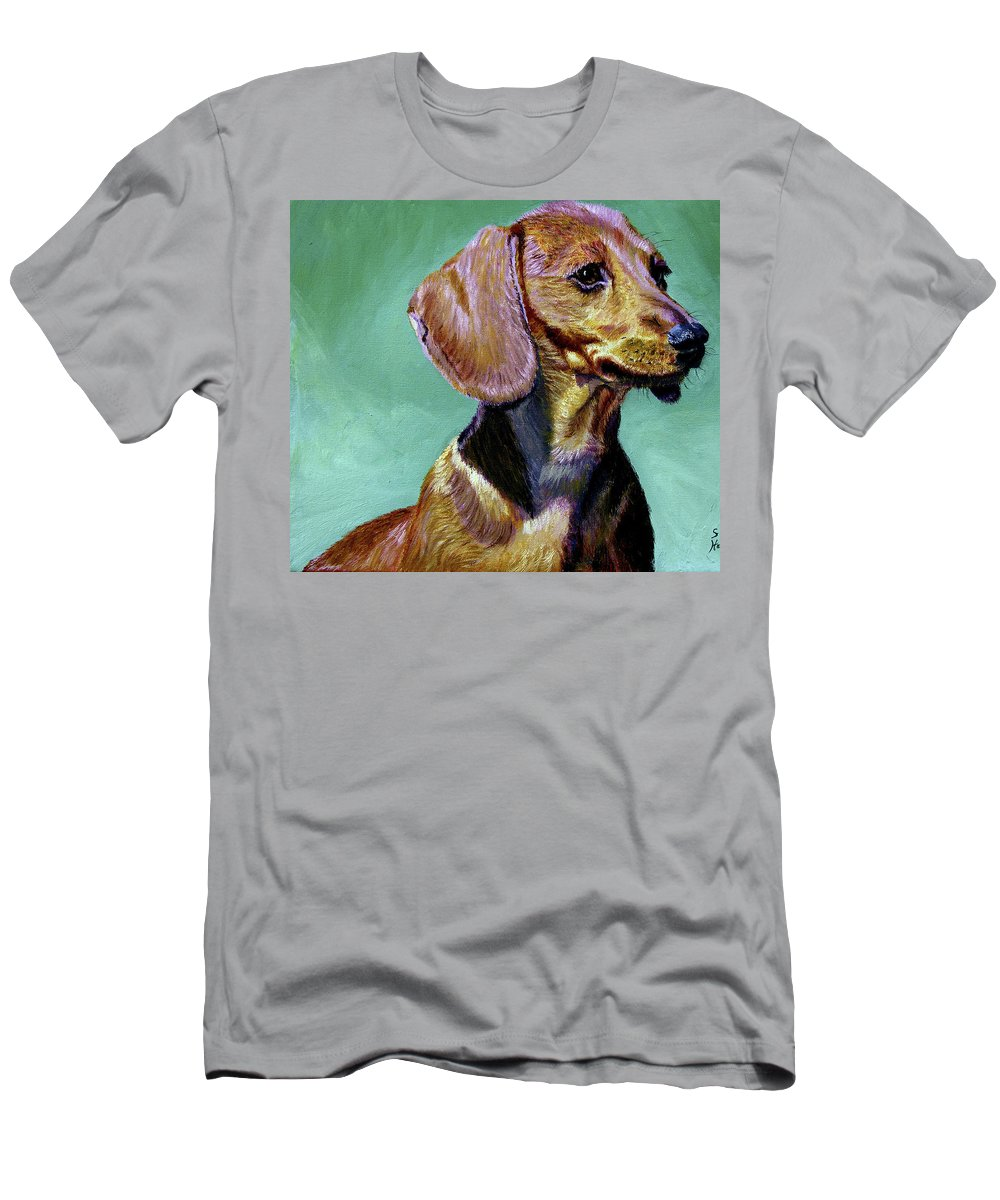 Daschund Men's T-Shirt (Athletic Fit) featuring the painting My Daschund by Stan Hamilton
