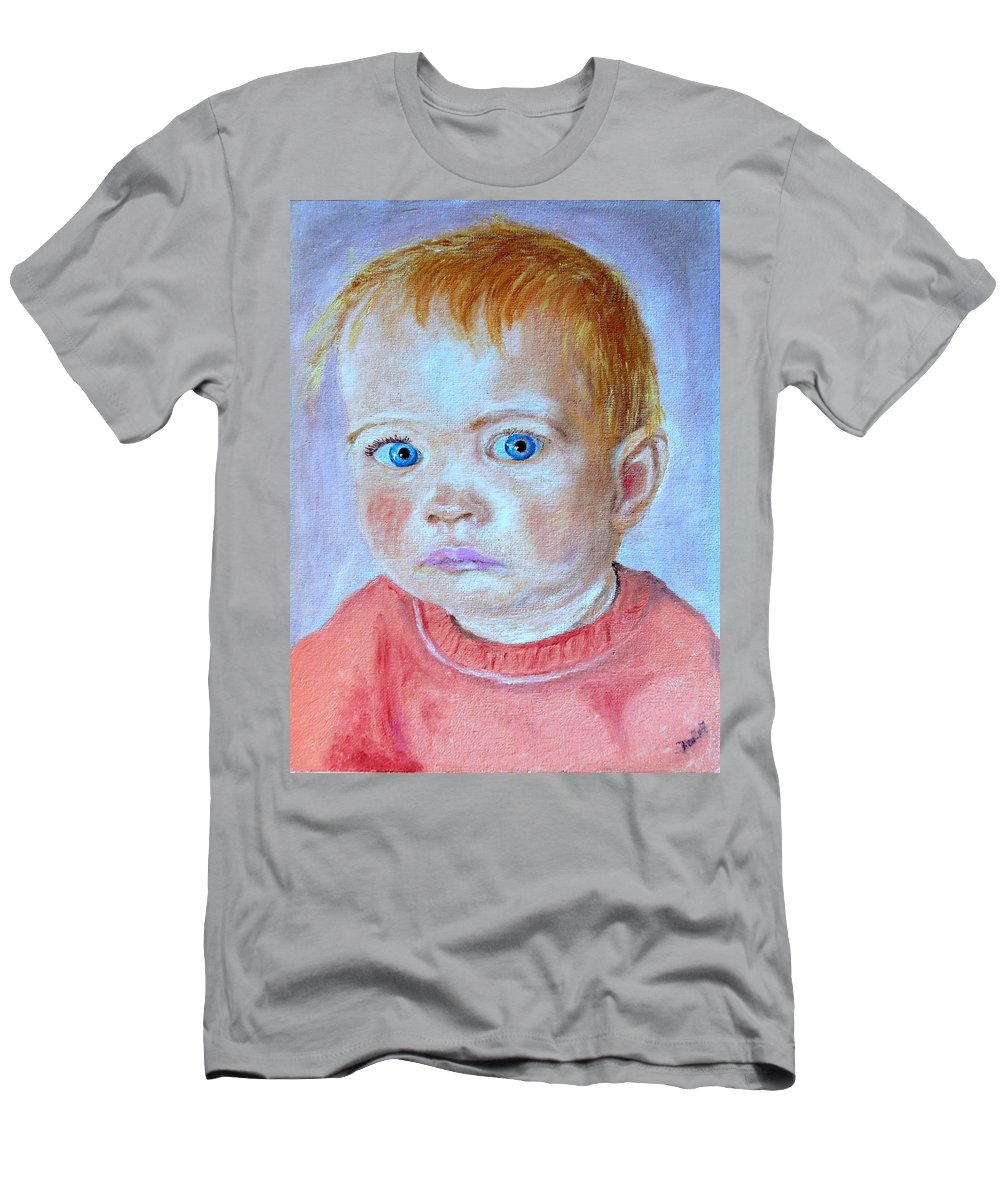 Leonie Men's T-Shirt (Athletic Fit) featuring the painting My Granddaughter Leonie by Helmut Rottler