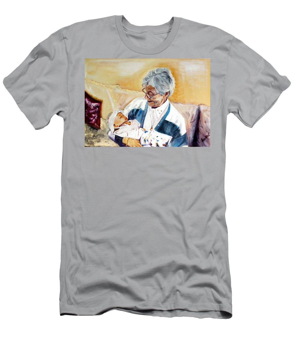 Portrait Men's T-Shirt (Athletic Fit) featuring the painting my granddaughter Leonie with her great grandmum by Helmut Rottler