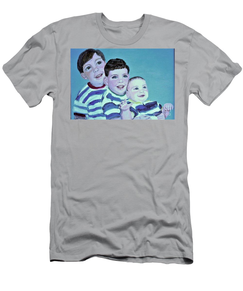 Children T-Shirt featuring the painting Brothers by Laurie Morgan