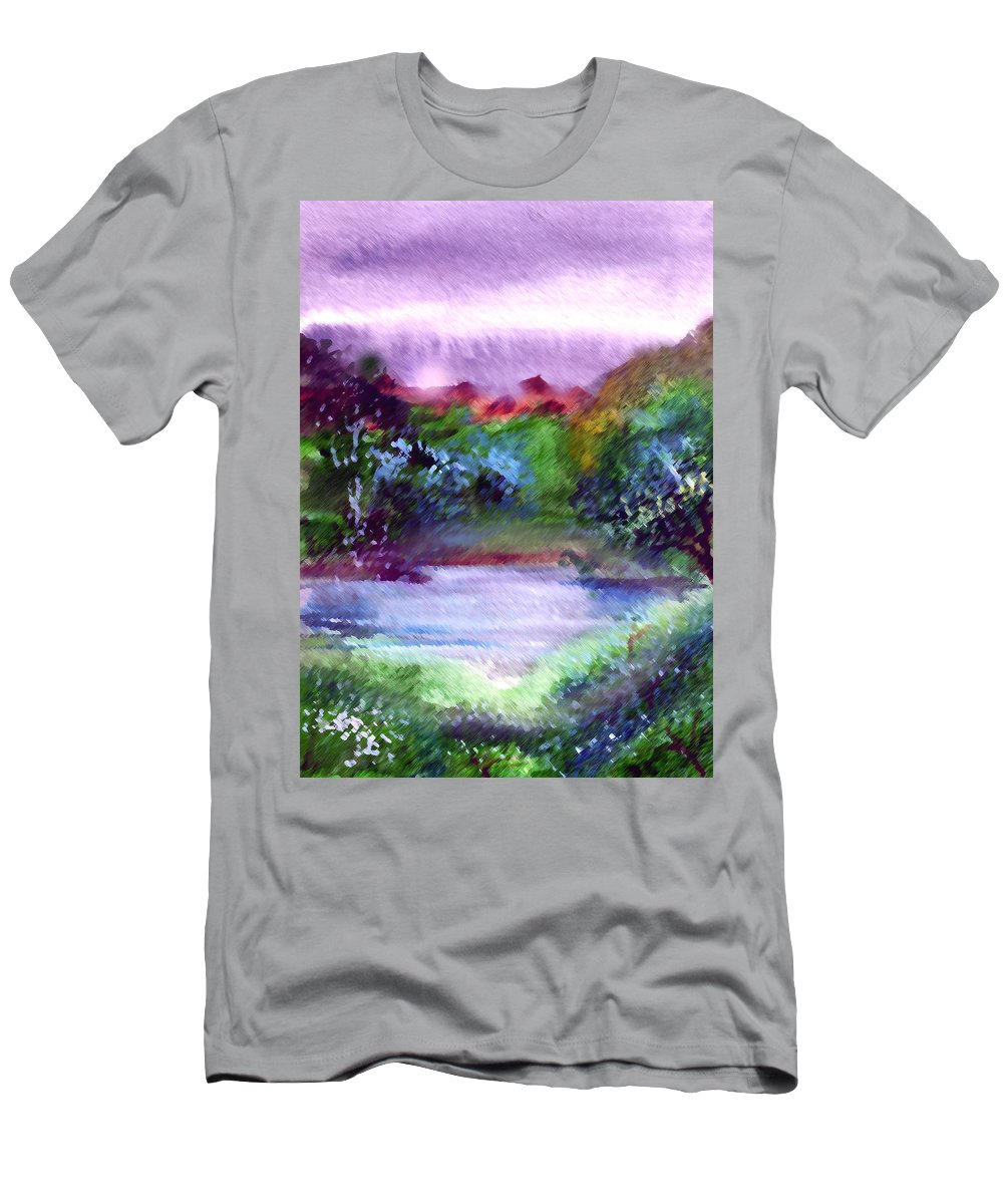 Lake Men's T-Shirt (Athletic Fit) featuring the painting Mystic Lake by Anil Nene