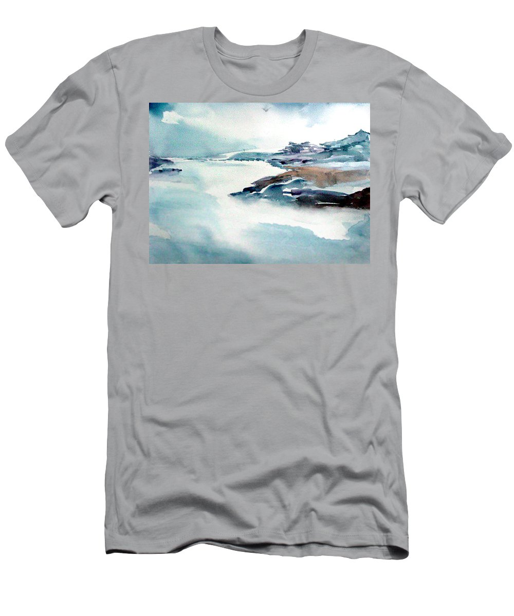 River Men's T-Shirt (Athletic Fit) featuring the painting Mystic River by Anil Nene