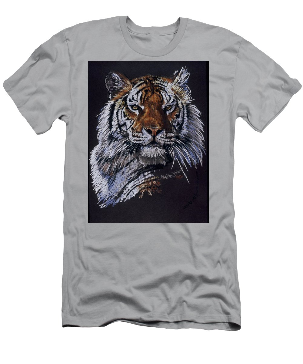 Tiger Men's T-Shirt (Athletic Fit) featuring the drawing Nakita by Barbara Keith