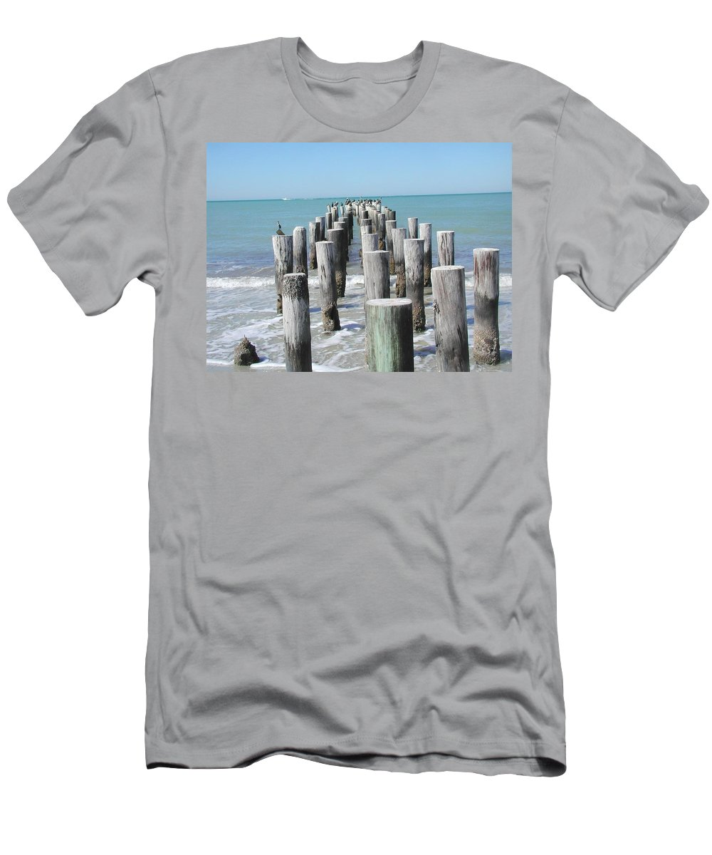Ocean Men's T-Shirt (Athletic Fit) featuring the photograph Naples Pier by Tom Reynen