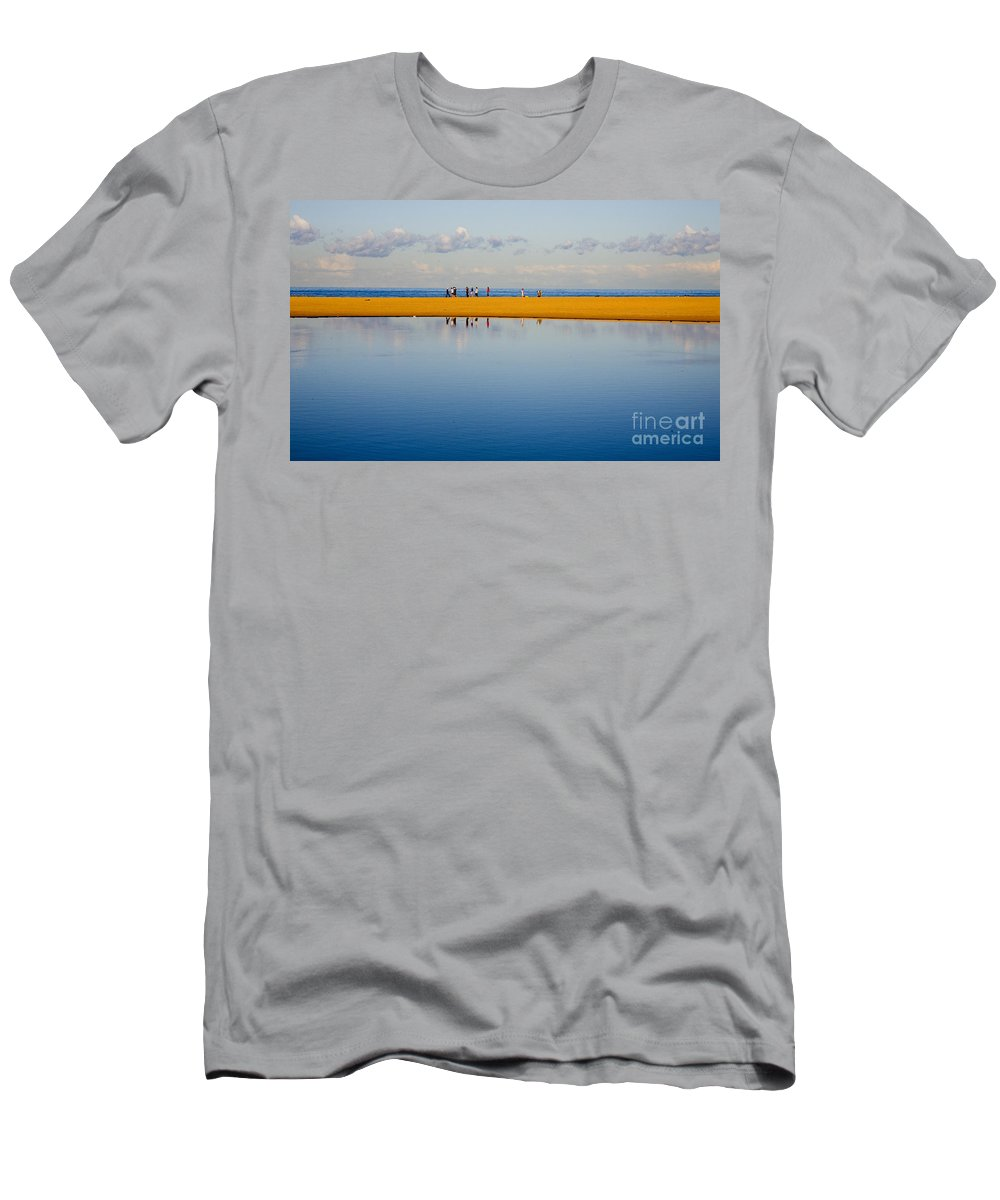 Dunes Lowry Sand Sky Reflection Sun Lifestyle Narrabeen Australia Men's T-Shirt (Athletic Fit) featuring the photograph Narrabeen Dunes by Sheila Smart Fine Art Photography