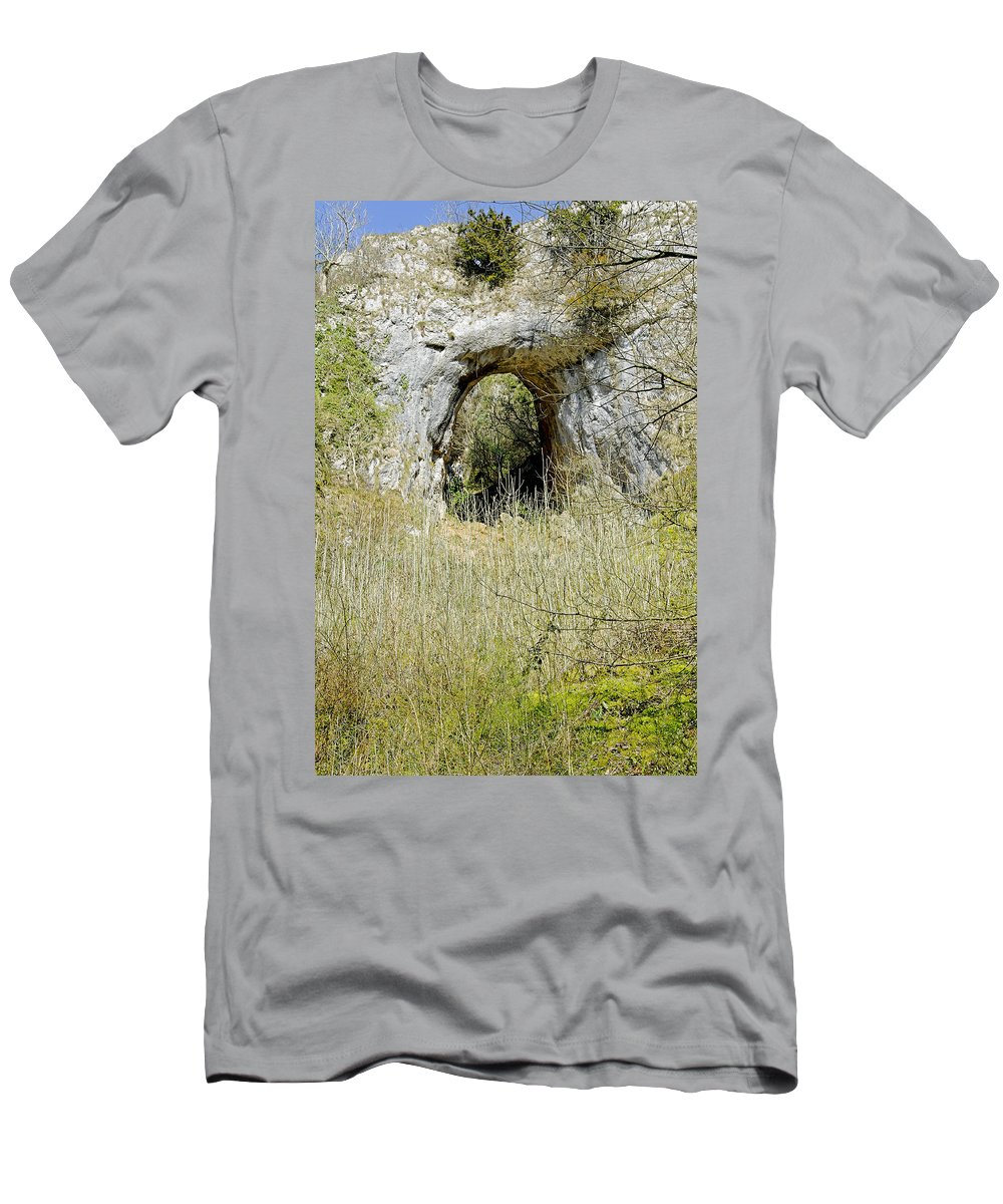 Dovedale Men's T-Shirt (Athletic Fit) featuring the photograph Natural Limestone Arch At Dove Valley by Rod Johnson