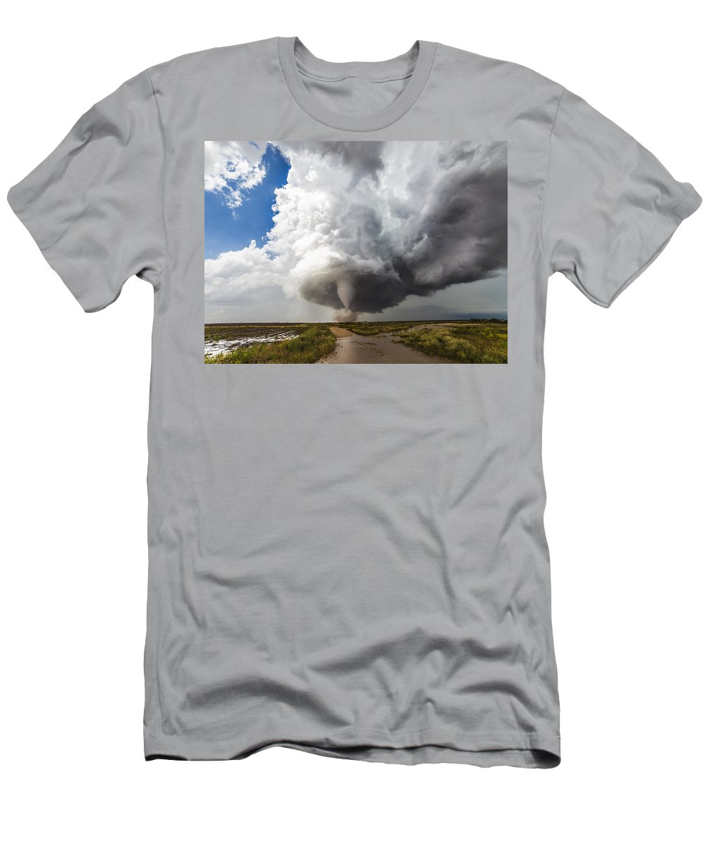 Sky Men's T-Shirt (Athletic Fit) featuring the photograph Nature's Irony by Brandon Sullivan