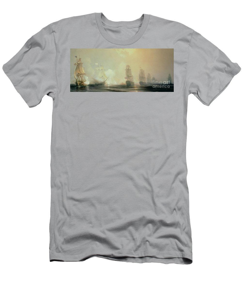 Boat T-Shirt featuring the painting Naval Battle In Chesapeake Bay by Jean Antoine Theodore Gudin