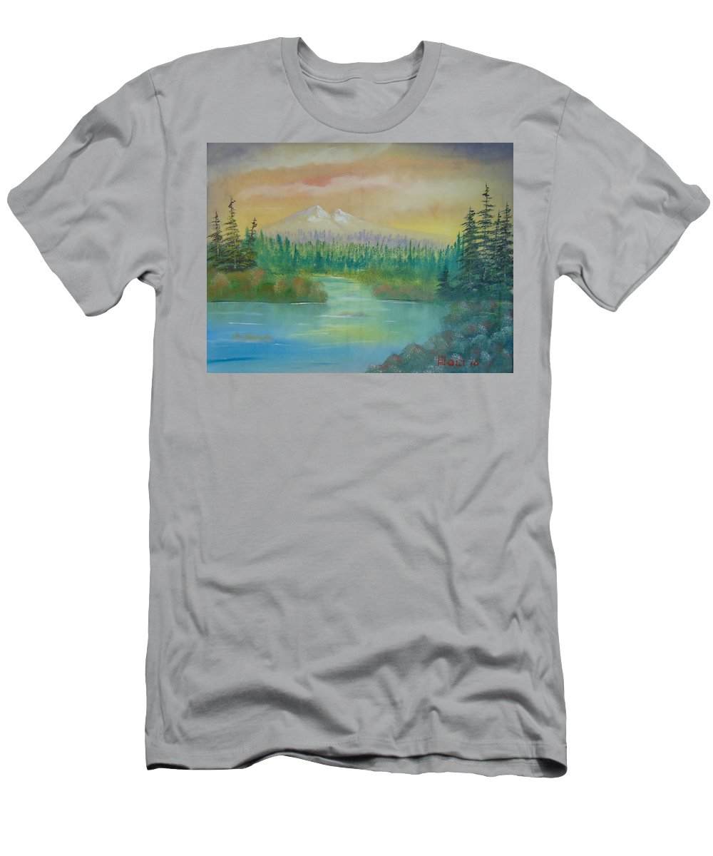 Bob Ross Style Men's T-Shirt (Athletic Fit) featuring the painting Near To Sunset by Alan K Holt