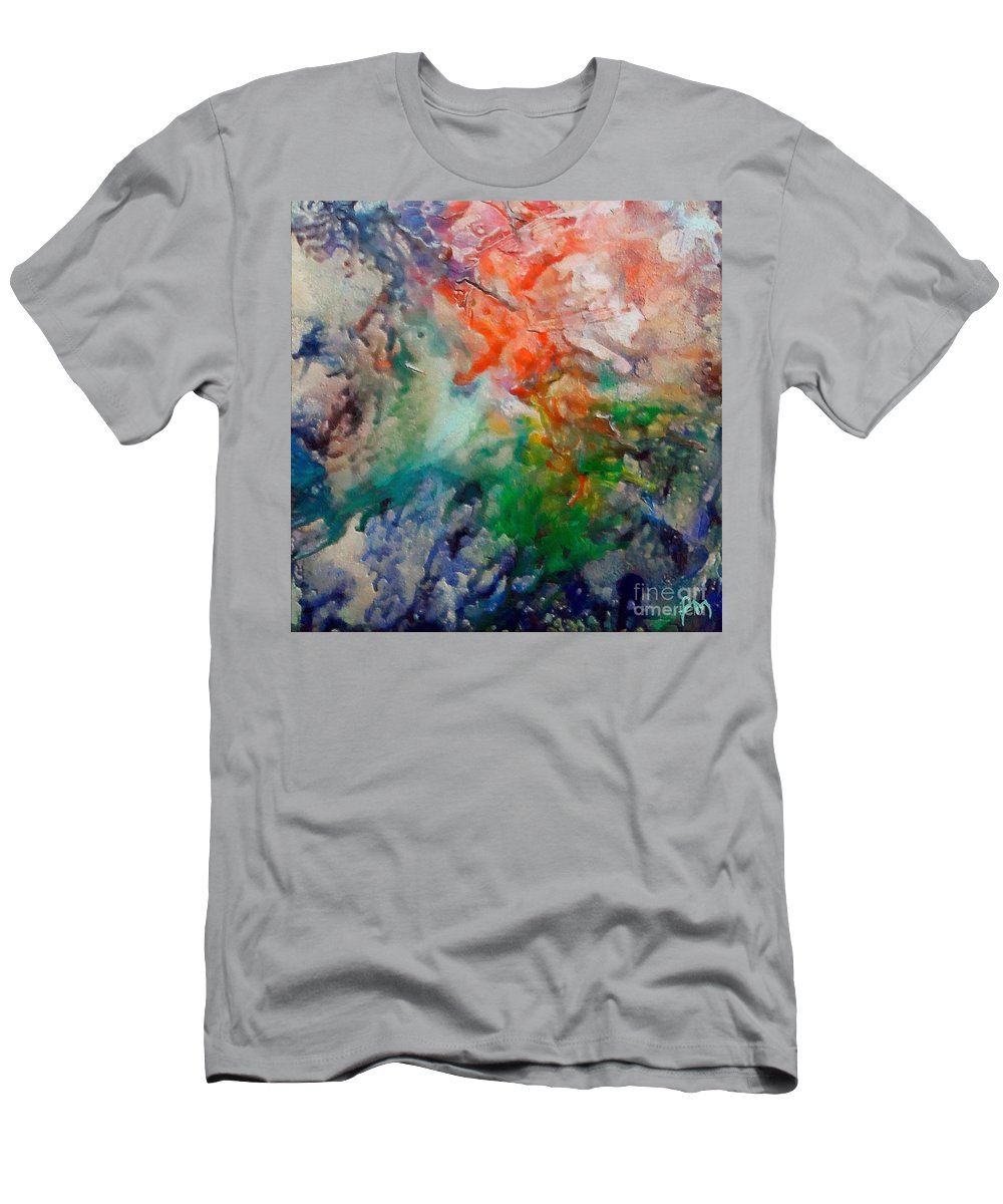 Abstract Men's T-Shirt (Athletic Fit) featuring the painting Nebula Algol by Dragica Micki Fortuna