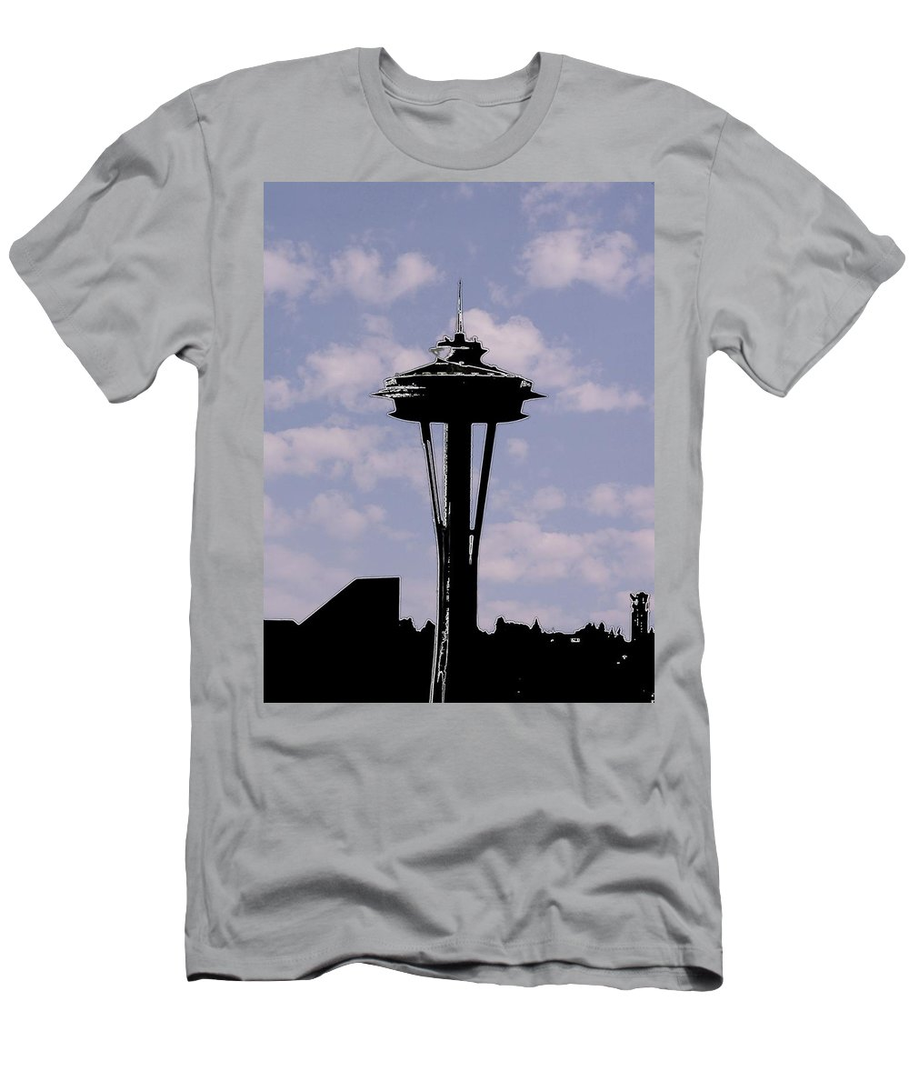 Seattle Men's T-Shirt (Athletic Fit) featuring the digital art Needle In The Clouds by Tim Allen