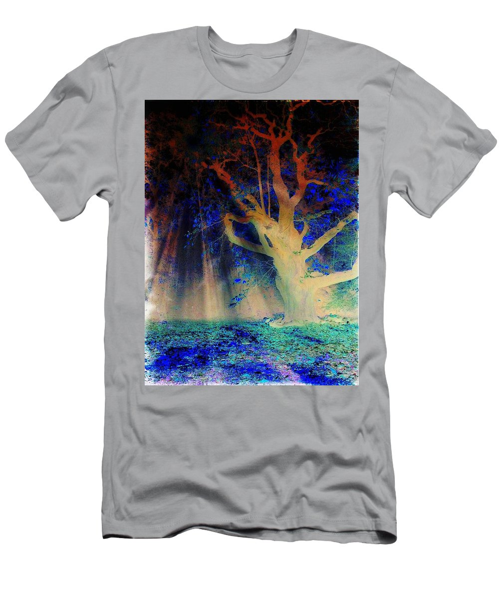 Autumn Men's T-Shirt (Athletic Fit) featuring the photograph Negative Tree And Sunbeams by Mo Barton