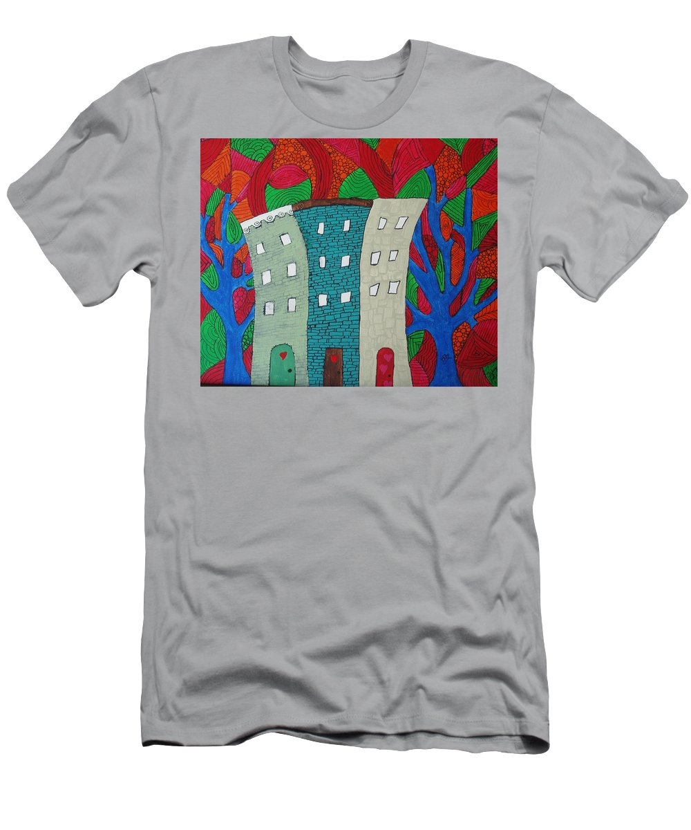 Houses Men's T-Shirt (Athletic Fit) featuring the painting Neighbors by Wayne Potrafka
