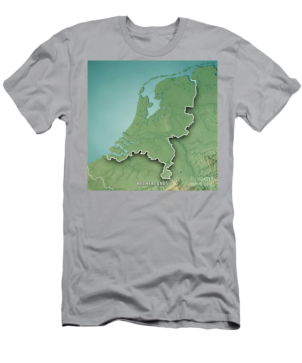 Netherlands Topographic Map.Netherlands Country 3d Render Topographic Map Border T Shirt For