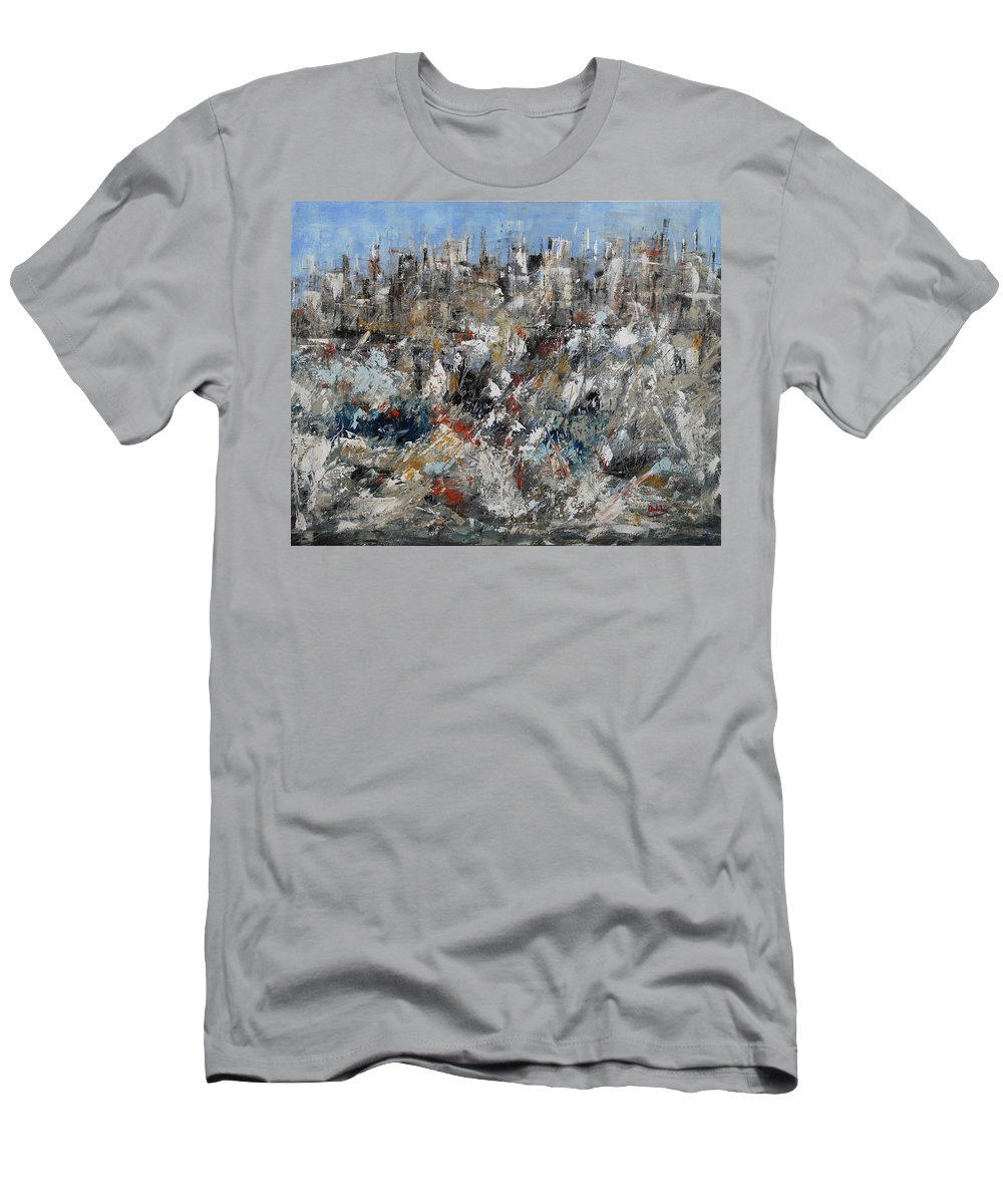 Paesaggio Terreste Con Neve Men's T-Shirt (Athletic Fit) featuring the painting Neve In Periferia by Massimo Onnis