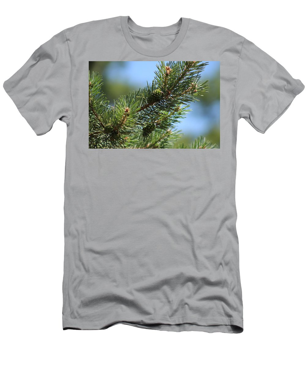 Pinecone Men's T-Shirt (Athletic Fit) featuring the photograph New Growth Pinecone At Chicago Botanical Gardens by Colleen Cornelius