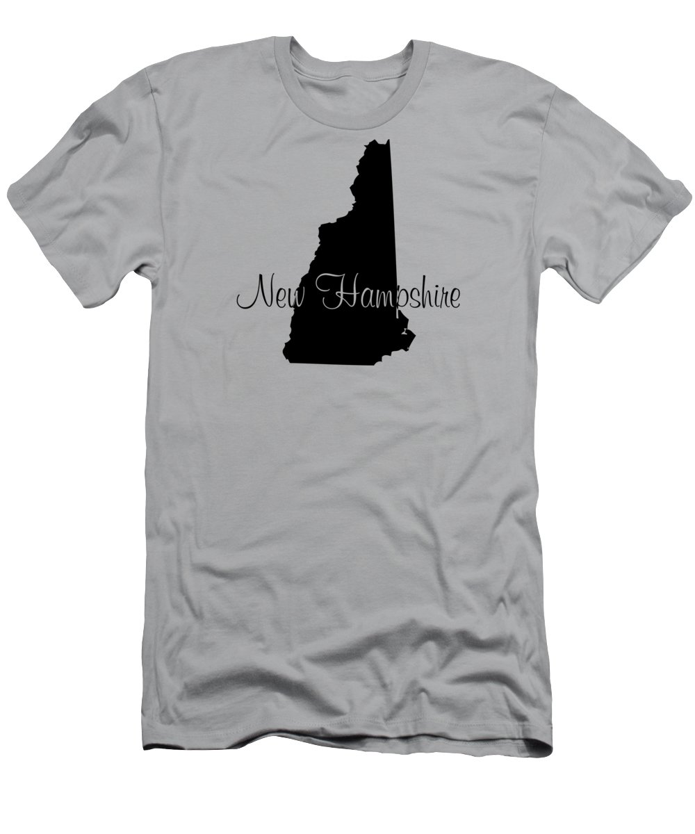New Hampshire Men's T-Shirt (Athletic Fit) featuring the digital art New Hampshire In Black by Custom Home Fashions