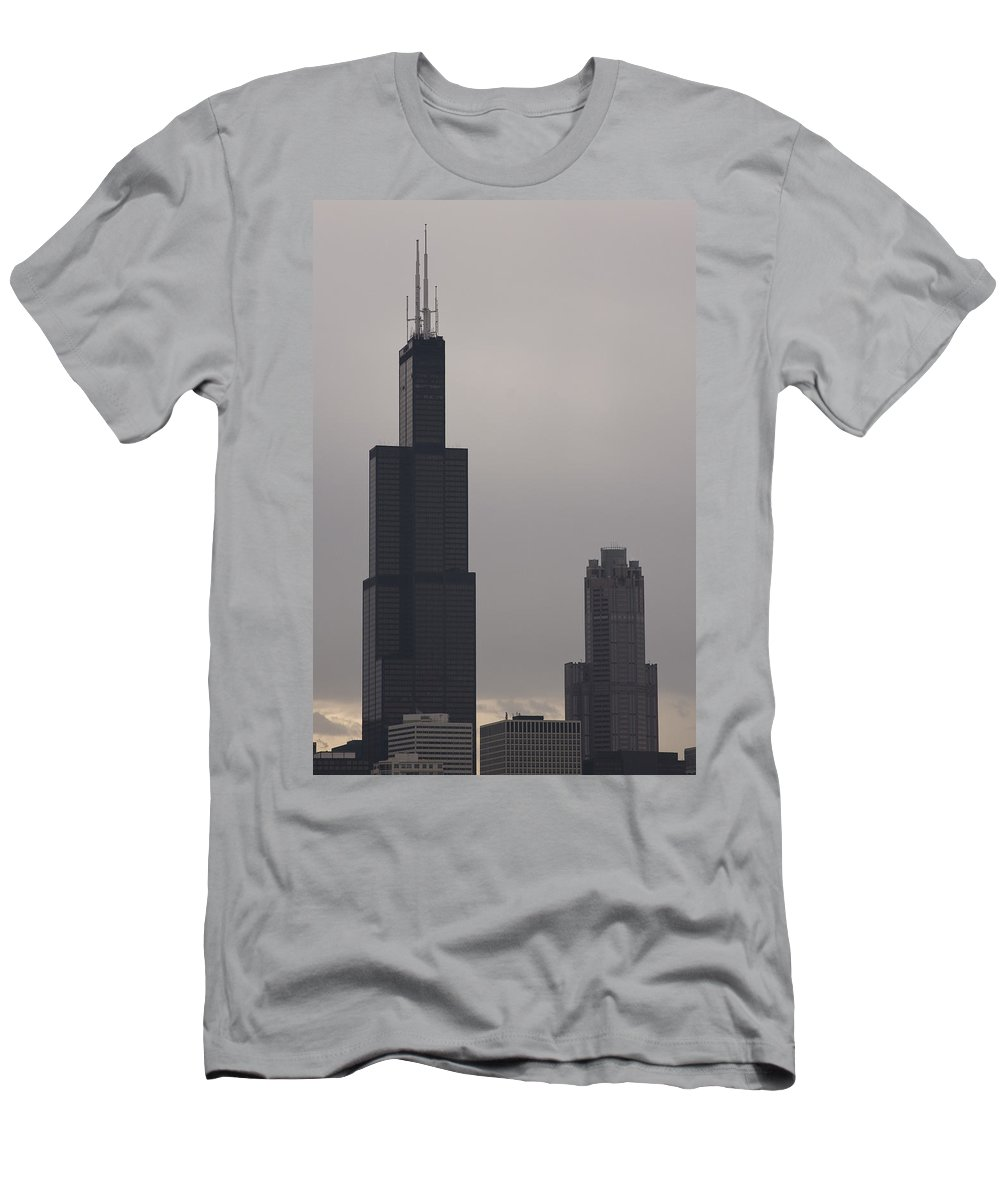 Chicago Windy City Sears Willis Tower Building High Tall Skyscraper Urban Metro Tourist Attraction Men's T-Shirt (Athletic Fit) featuring the photograph New Name by Andrei Shliakhau