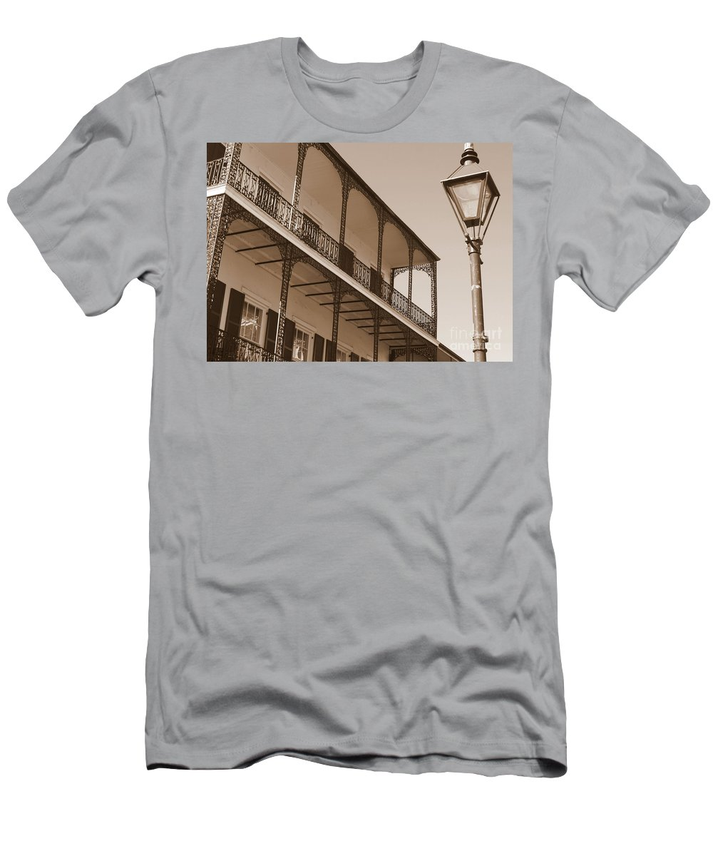 New Orleans Men's T-Shirt (Athletic Fit) featuring the photograph New Orleans Balcony With Lamp by Carol Groenen