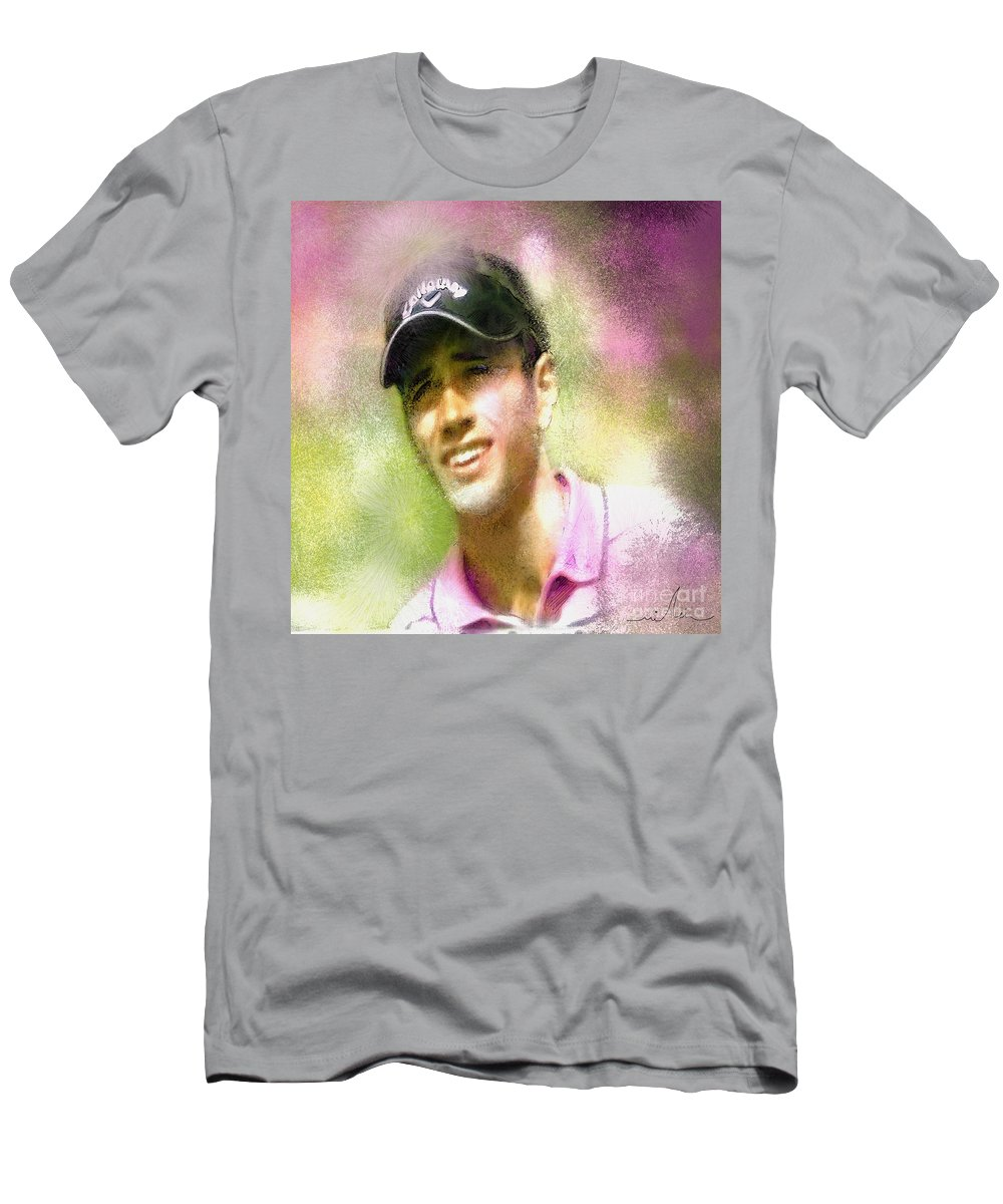 Golf Men's T-Shirt (Athletic Fit) featuring the painting Nick Dougherty In The Golf Trophee Hassan II In Morocco by Miki De Goodaboom