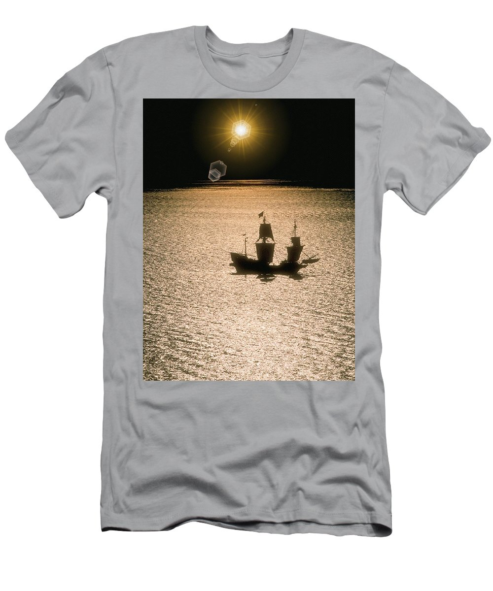 Sail Men's T-Shirt (Athletic Fit) featuring the photograph Night Sail by Tim Allen