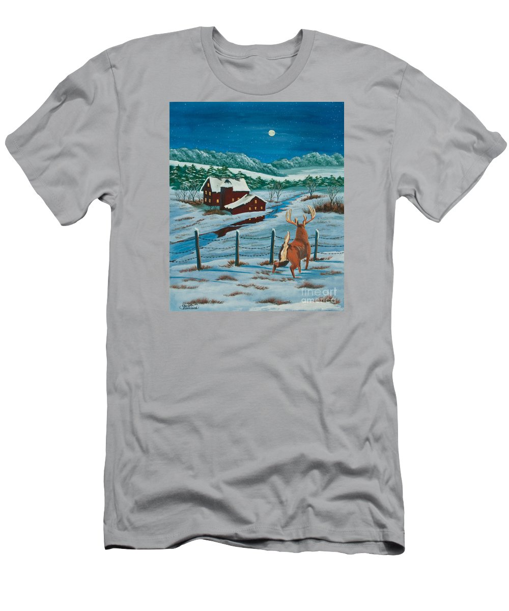 Deer Paintings Men's T-Shirt (Athletic Fit) featuring the painting Night Watch by Charlotte Blanchard