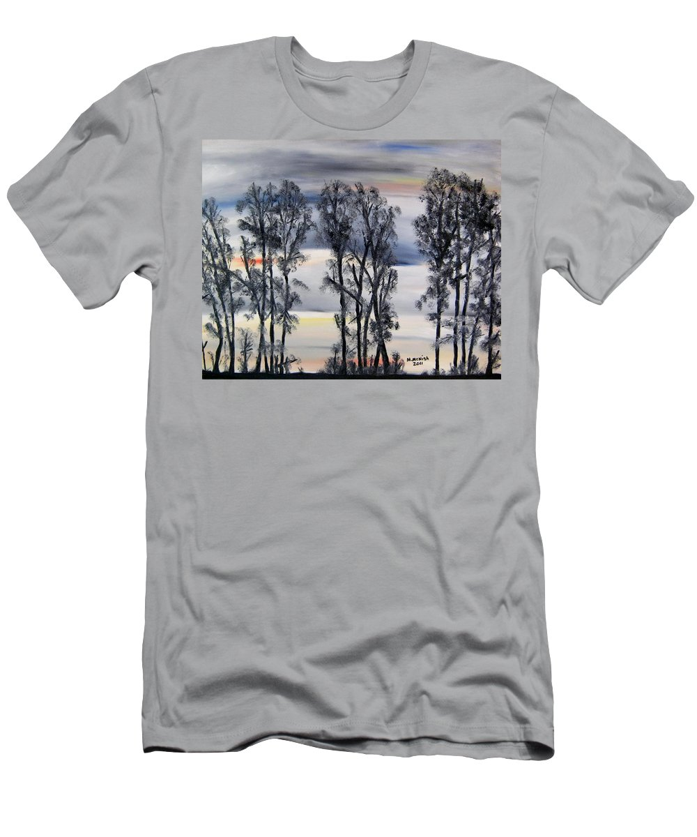Treeline Men's T-Shirt (Athletic Fit) featuring the painting Nightfall Approaching by Marilyn McNish