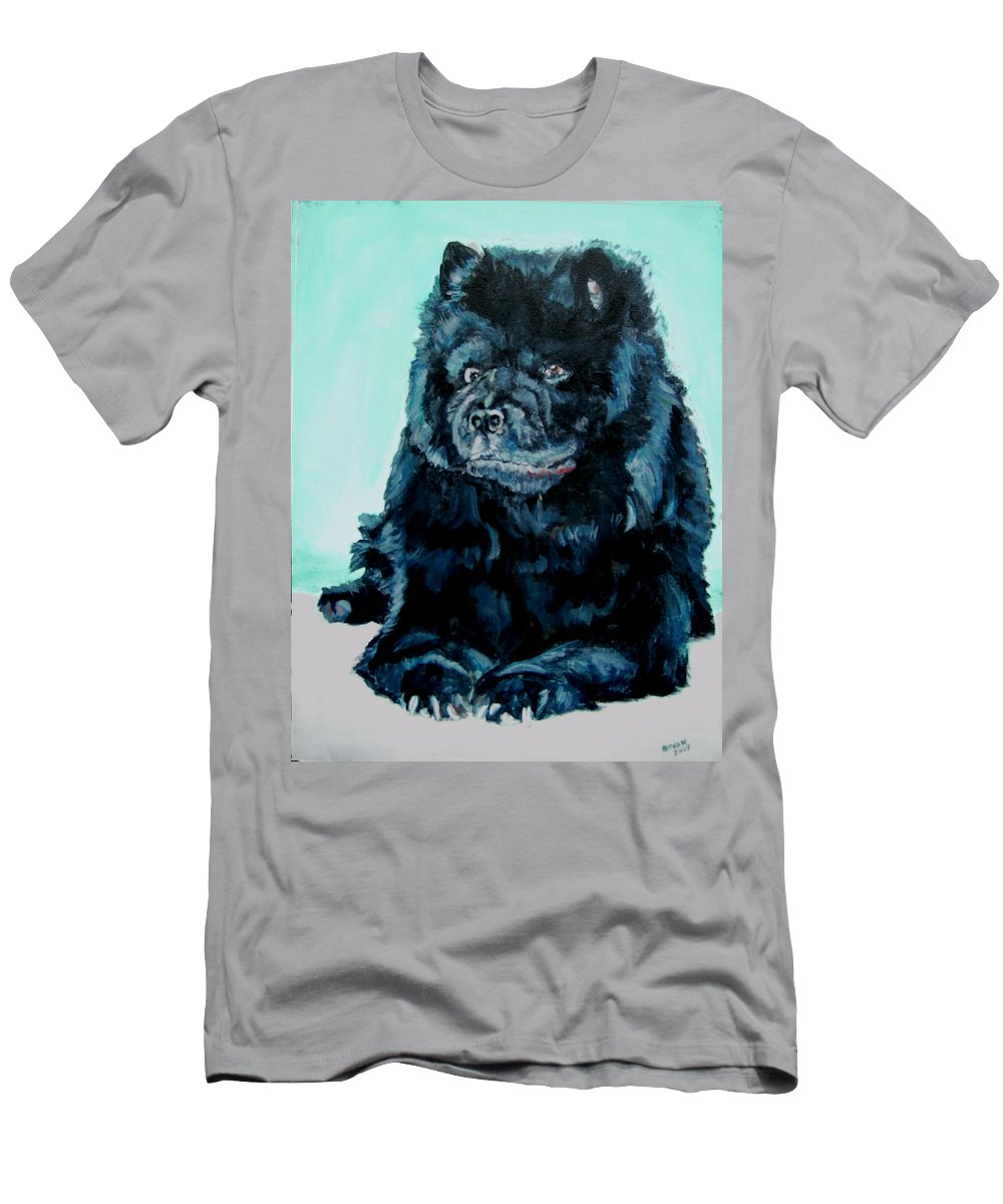 Dog Men's T-Shirt (Athletic Fit) featuring the painting Nikki The Chow by Bryan Bustard