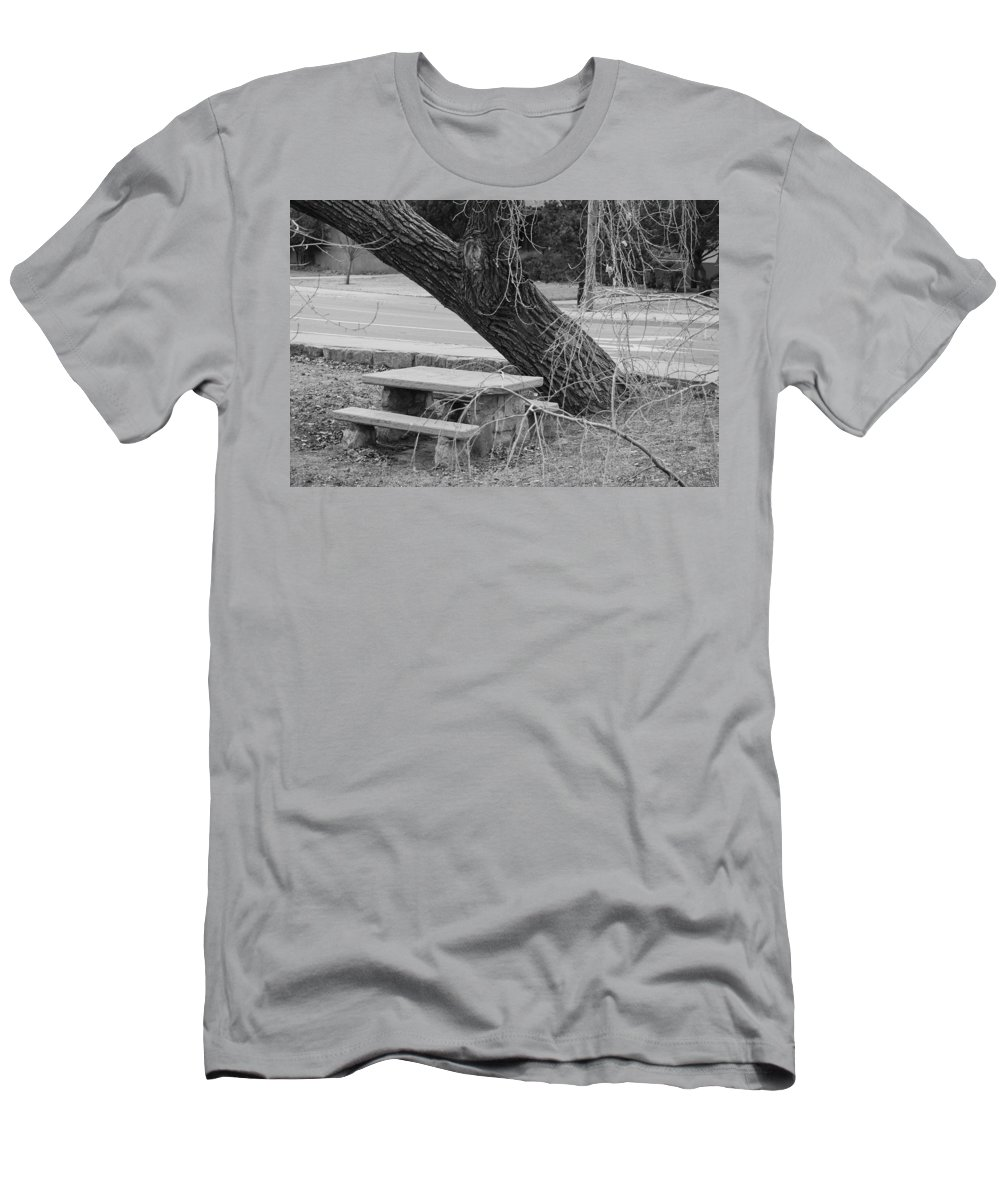 Trees Men's T-Shirt (Athletic Fit) featuring the photograph No One Sits Here In Black And White by Rob Hans