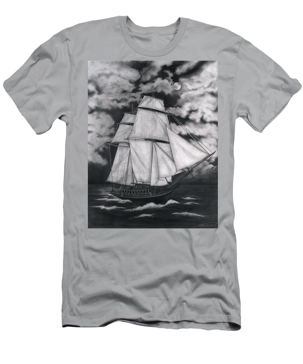 Ship Sailing Into The Northern Winds Men's T-Shirt (Athletic Fit) featuring the drawing Northern Winds by Larry Lehman