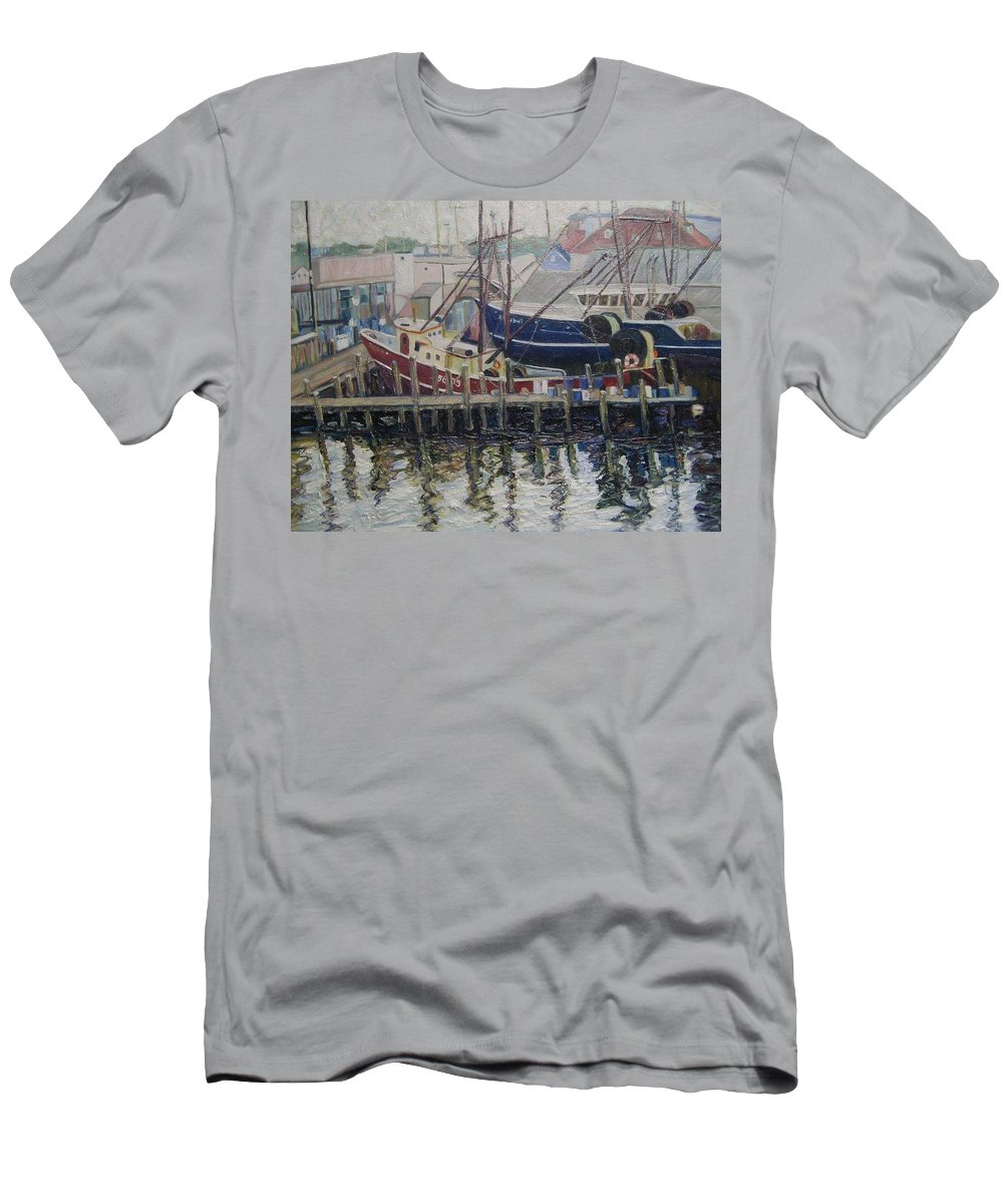 Boats Men's T-Shirt (Athletic Fit) featuring the painting Nova Scotia Boats At Rest by Richard Nowak