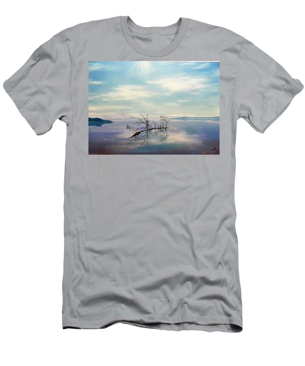 Late Novemeber In Bavaria Men's T-Shirt (Athletic Fit) featuring the painting November On A Bavarian Lake by Helmut Rottler