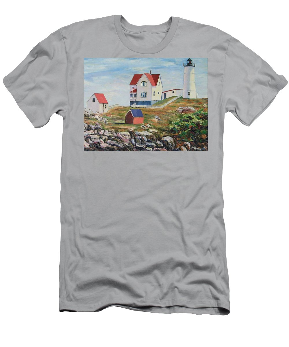 Nubble Light House Men's T-Shirt (Athletic Fit) featuring the painting Nubble Light House Maine by Richard Nowak