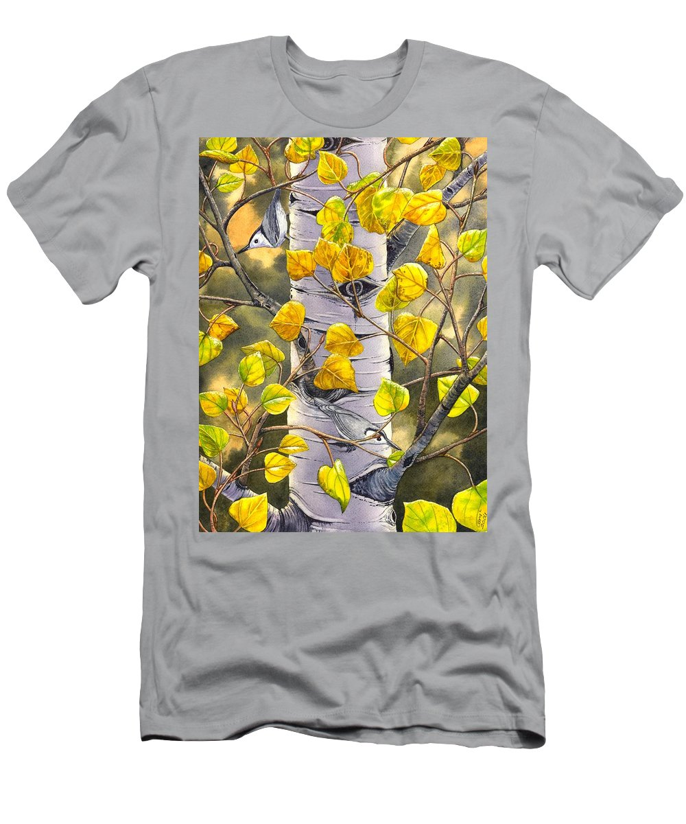 Nuthatch Men's T-Shirt (Athletic Fit) featuring the painting Nuthatches by Catherine G McElroy