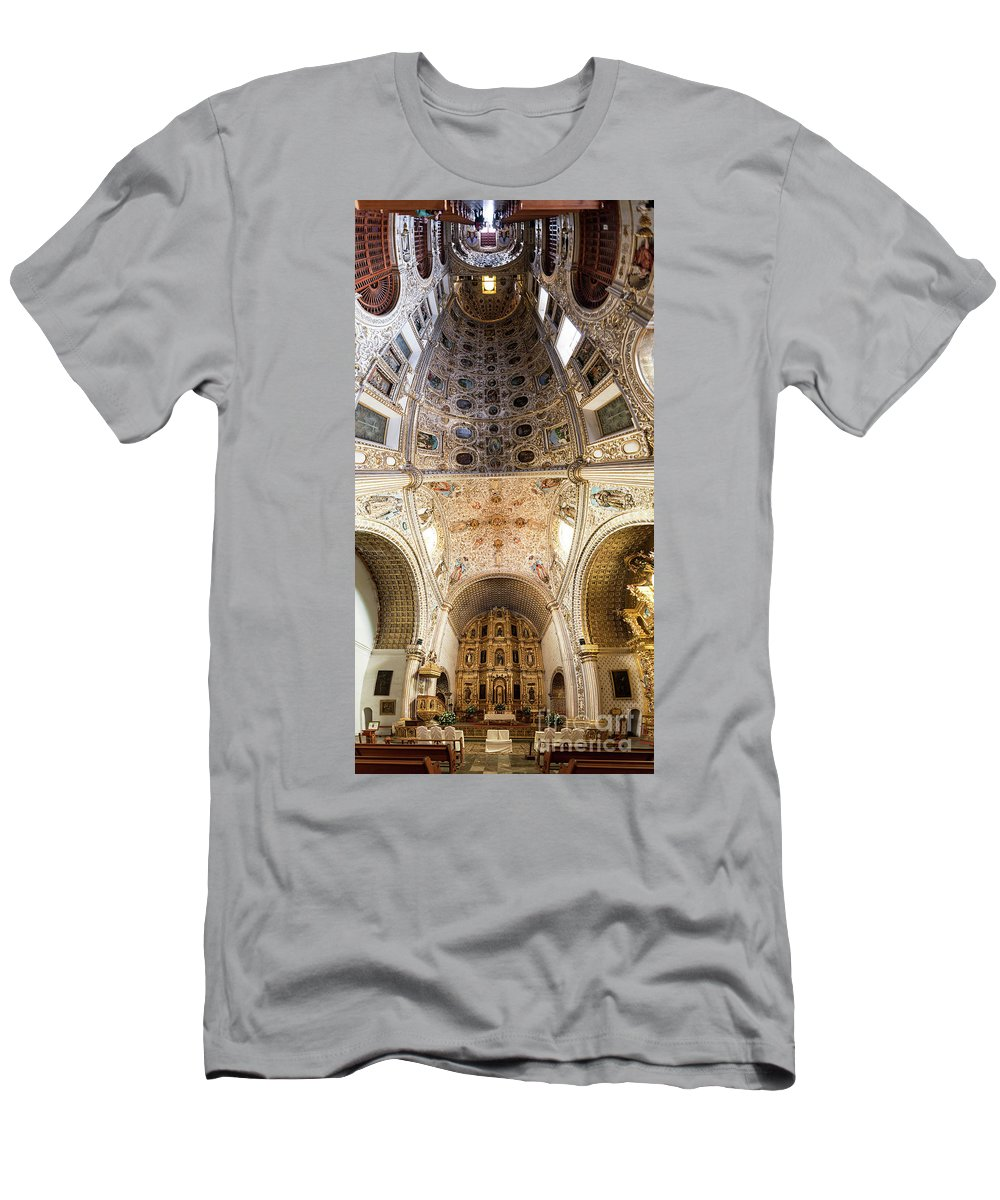 Oaxaca Men's T-Shirt (Athletic Fit) featuring the photograph Oaxaca Church Interior Panorama by Jess Kraft