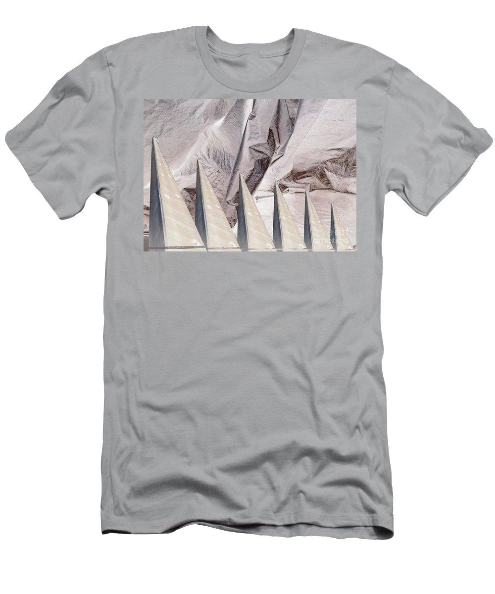 Obelisk Men's T-Shirt (Athletic Fit) featuring the digital art Obelisks Aligned by Ron Bissett