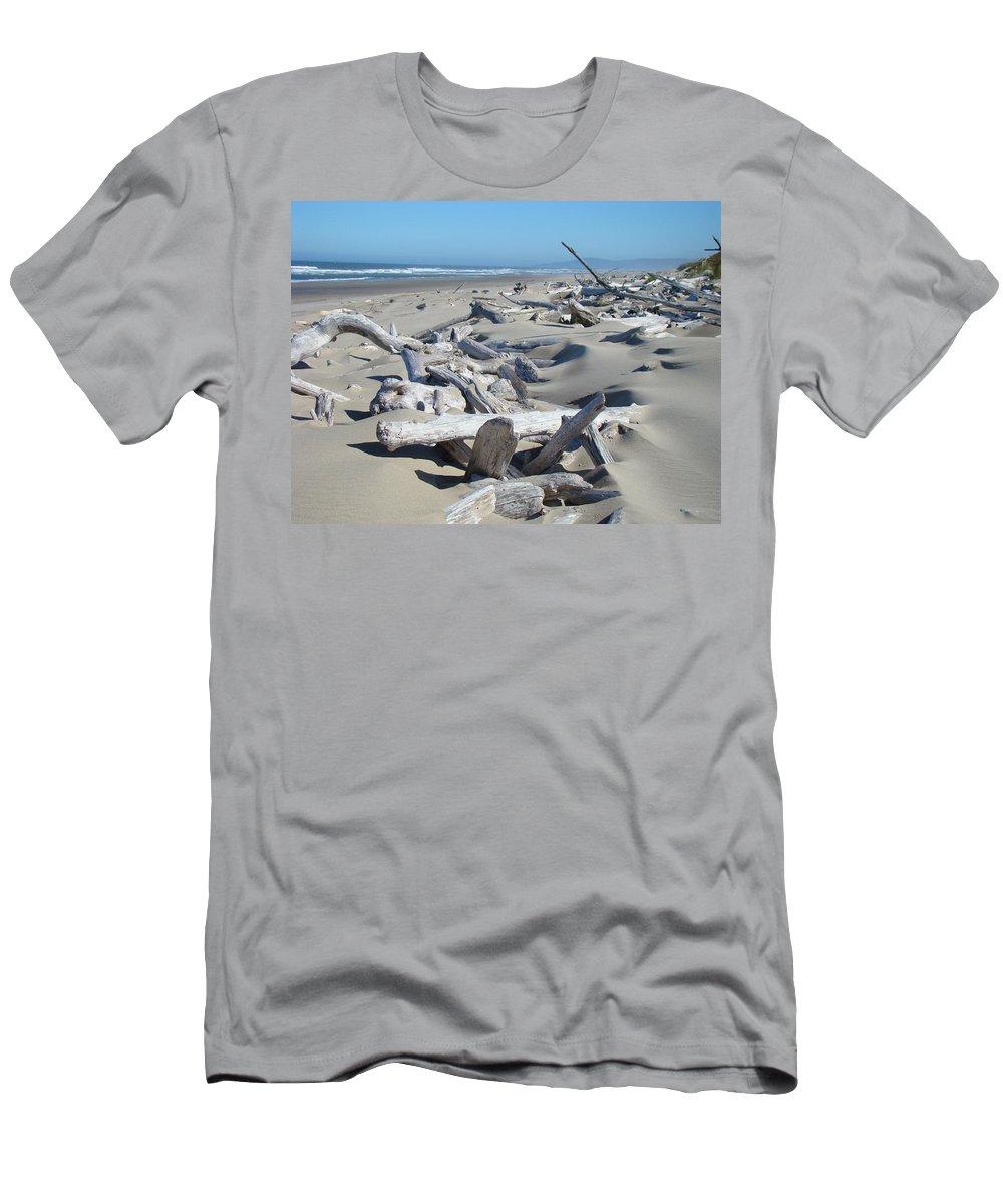 Driftwood T-Shirt featuring the photograph Ocean Coastal art prints Driftwood Beach by Patti Baslee