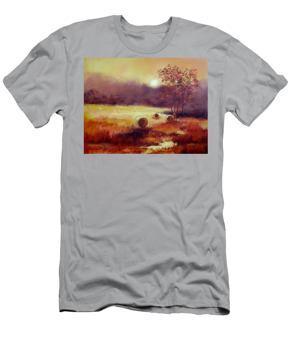 Fall Landscapes Men's T-Shirt (Athletic Fit) featuring the painting October Pasture by Ginger Concepcion