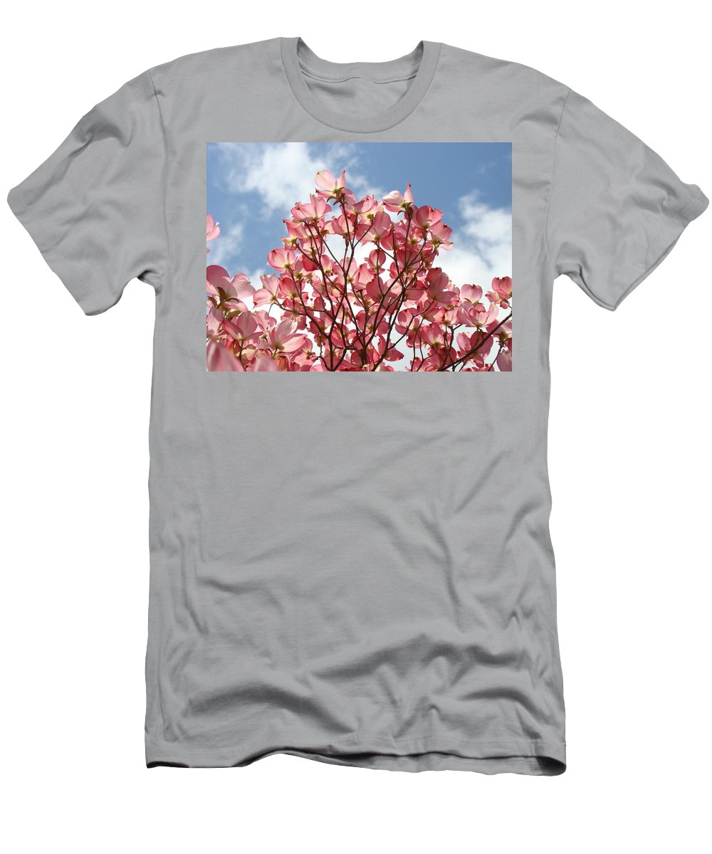 Office Men's T-Shirt (Athletic Fit) featuring the photograph Office Art Prints Blue Sky Pink Dogwood Flowering 7 Giclee Prints Baslee Troutman by Baslee Troutman