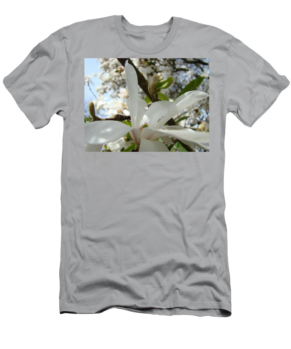 Magnolia Men's T-Shirt (Athletic Fit) featuring the photograph Office Art Prints White Magnolia Flower 6 Giclee Prints Baslee Troutman by Baslee Troutman