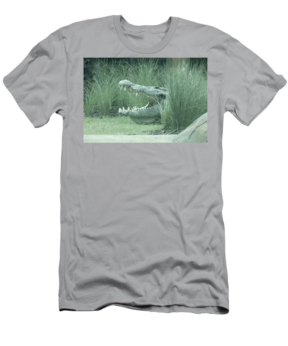 Crocodile Men's T-Shirt (Athletic Fit) featuring the photograph Oh My, What Big Teeth You Have by Terry Cobb