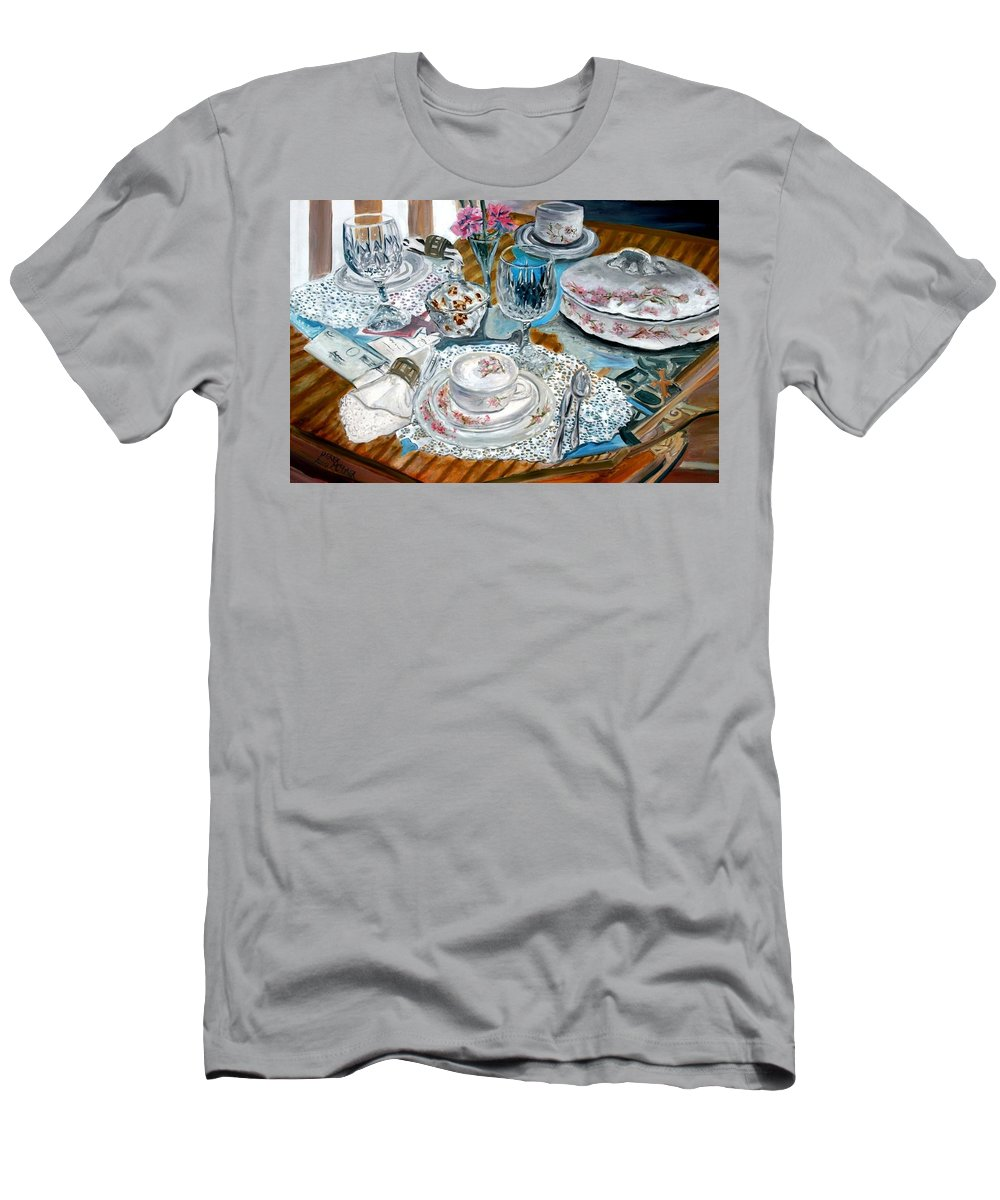 Oil T-Shirt featuring the painting Oil Painting Still Life China Tea Set by Derek Mccrea