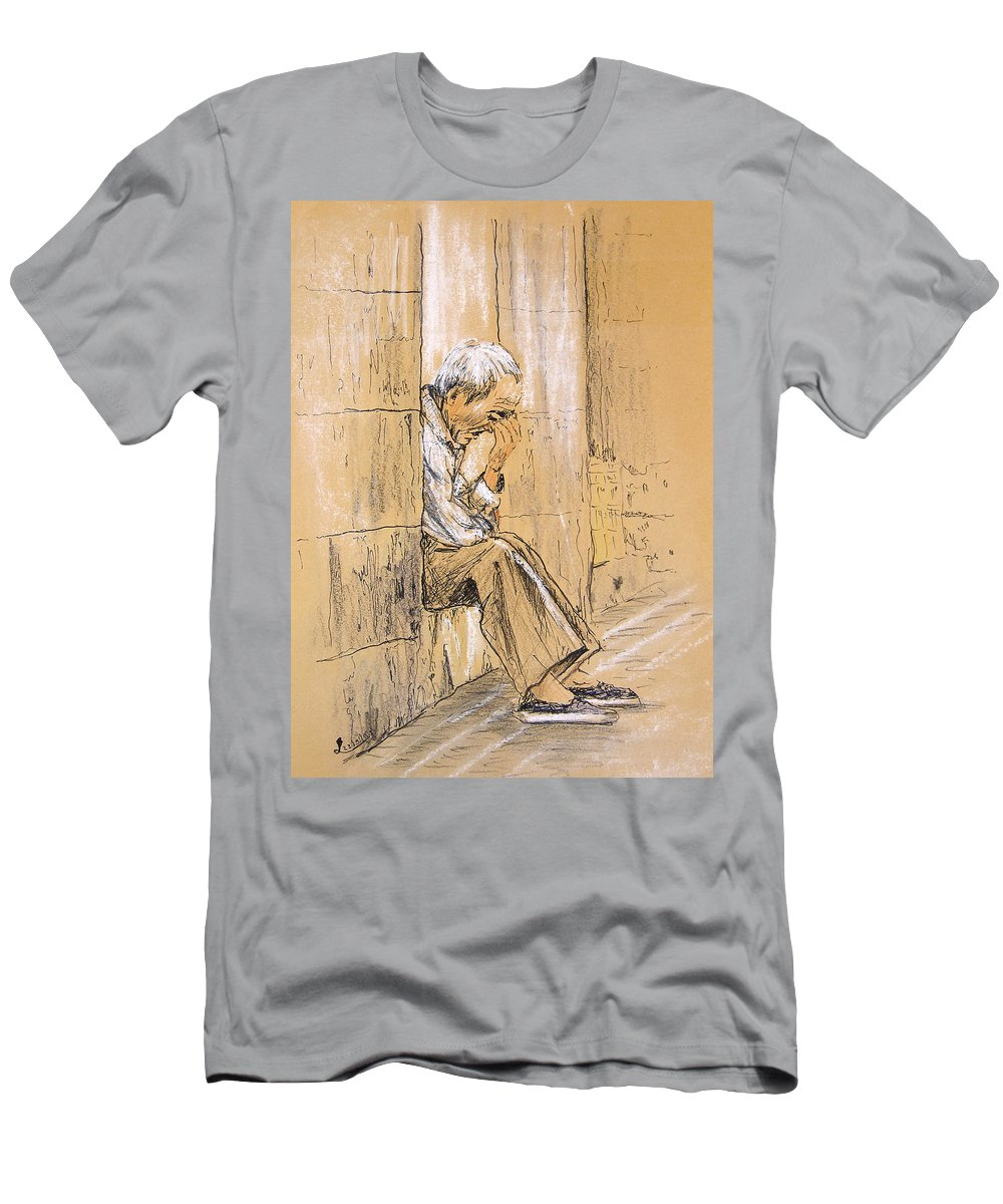 Pastel T-Shirt featuring the drawing Old and Lonely in Spain 01 by Miki De Goodaboom
