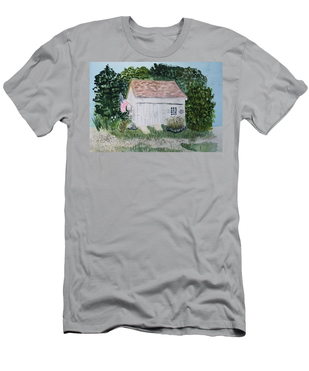 Barn Men's T-Shirt (Athletic Fit) featuring the painting Old Barn In Eastham Ma by Donna Walsh