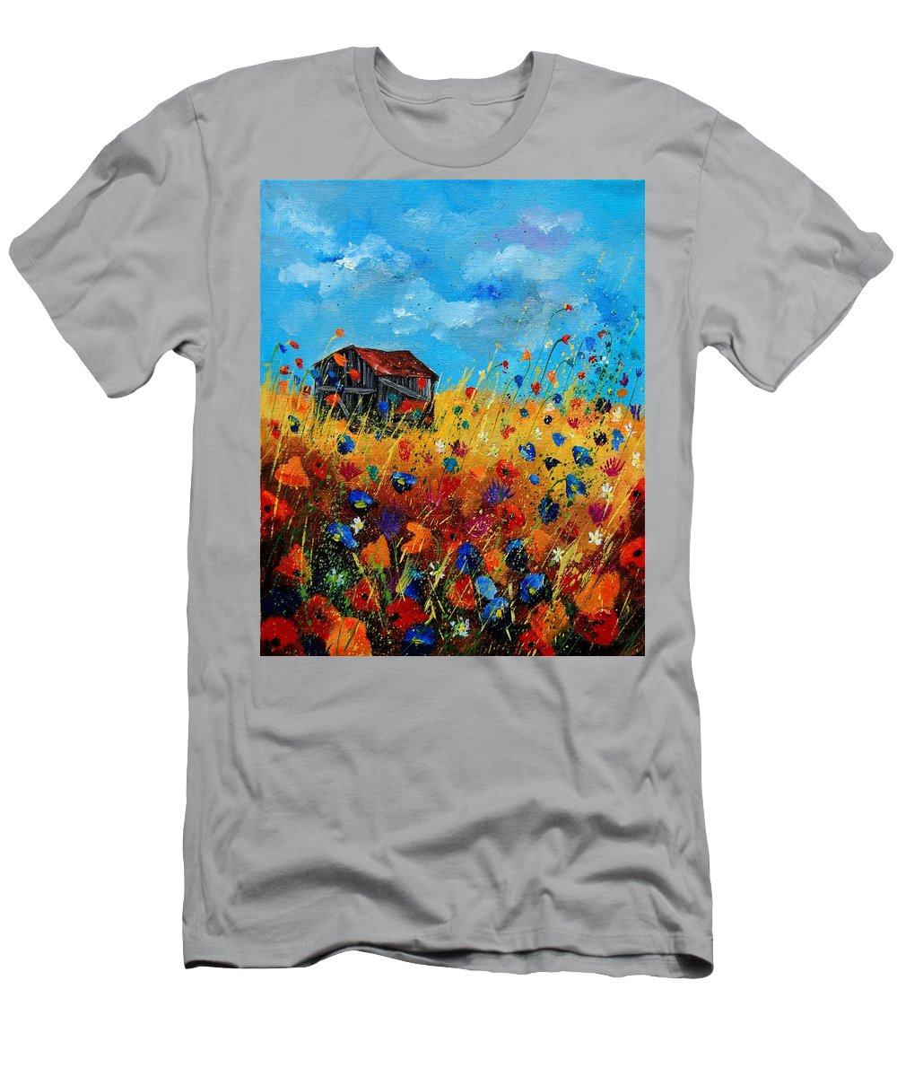 Poppies Men's T-Shirt (Athletic Fit) featuring the painting Old Barn by Pol Ledent